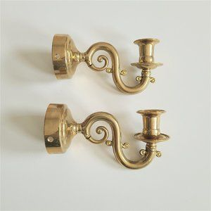 Pair of Brass Wall Candle Holders. Made in Italy.